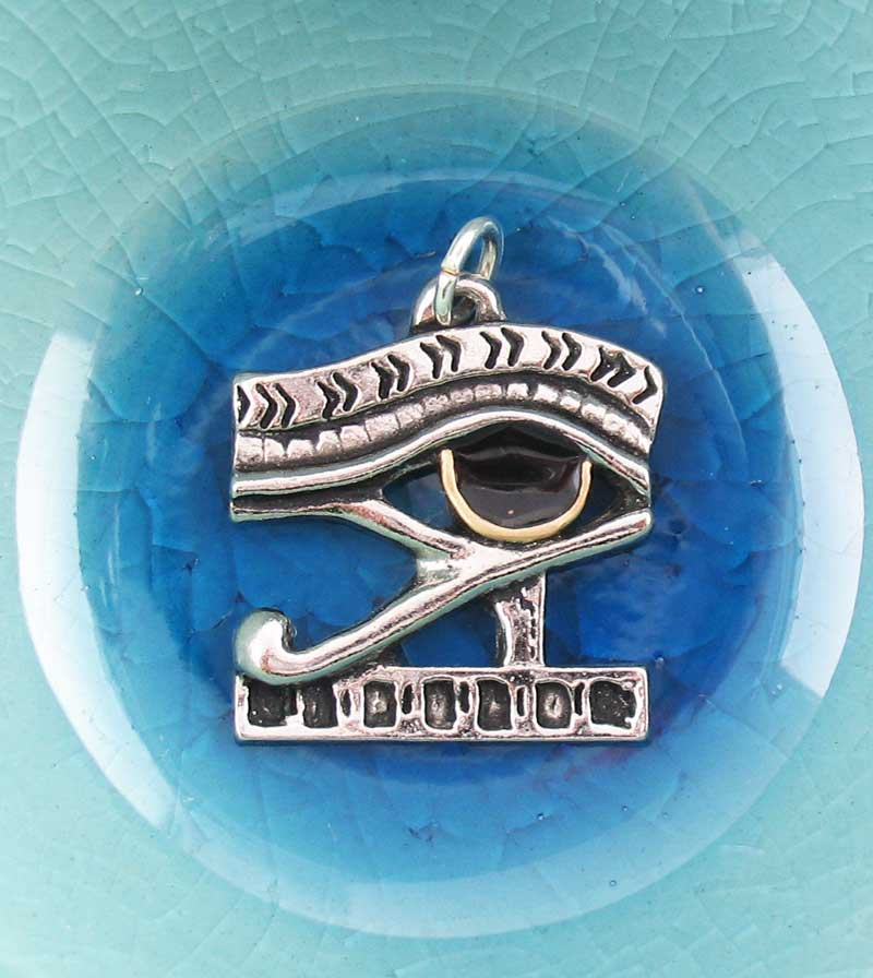 Eye of Horus Amulet Pendant, Lead-Free Pewter w/ Gold & Enamel Accents