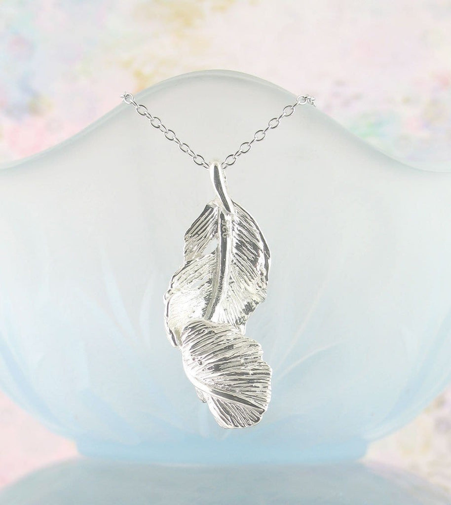 Silver falling feather pendant necklace memorial gift free falling feather necklace aloadofball Images
