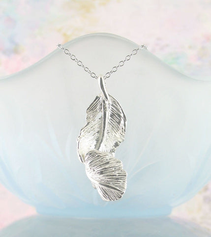 Falling Feather Necklace Angels Sterling Silver Memorial Gifts