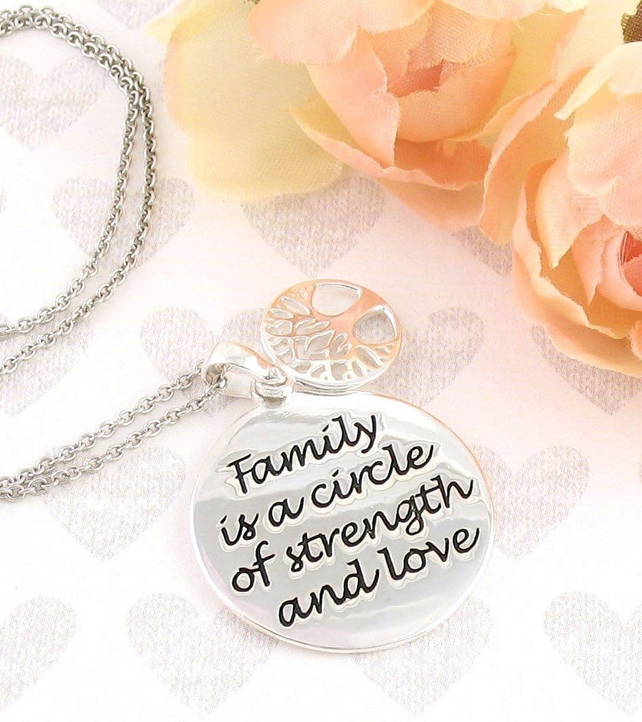 Family is a Circle of Strength and Love Necklace - woot & hammy