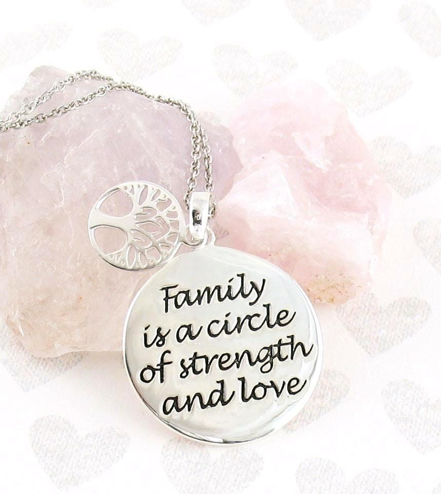 Family is a Circle of Strength and Love Quote Necklace w/ Tree of Life Charm in Sterling Silver