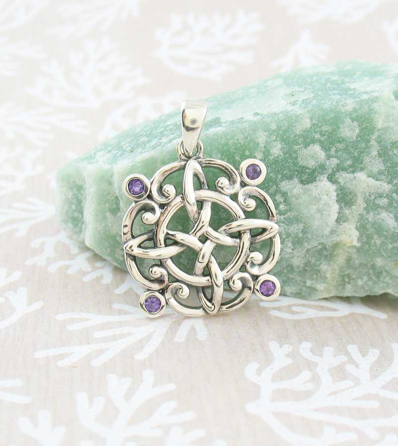 Ornate Witch's Knot Pendant with Amethyst Crystals