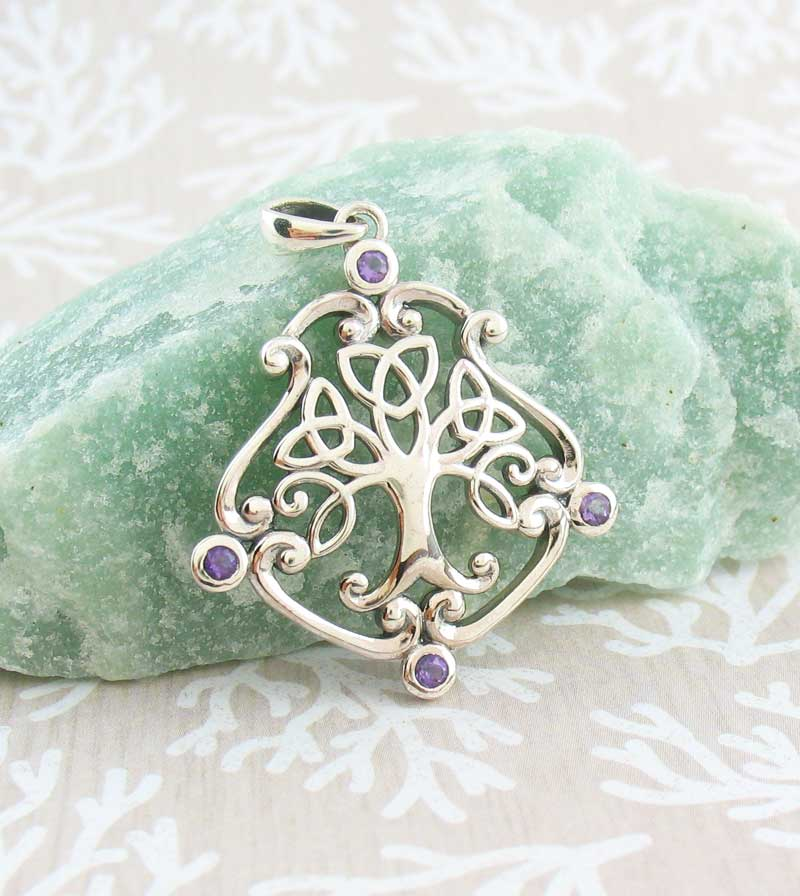 Fancy Celtic Tree of Life Pendant with Amethyst Crystals