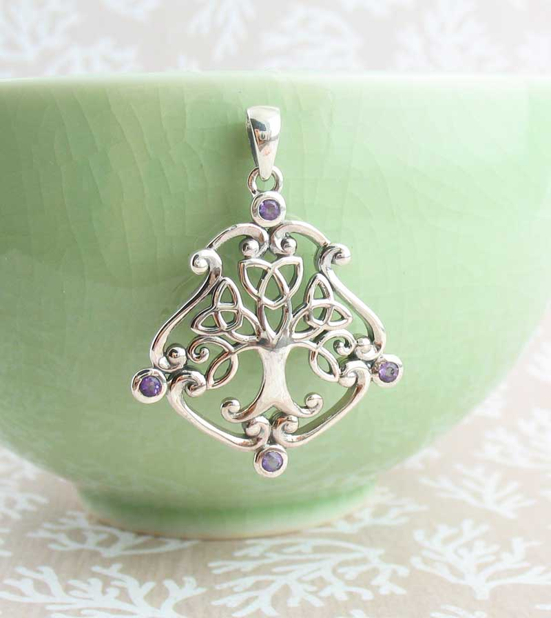 Fancy Celtic Tree of Life Pendant with Amethyst Crystals Sterling Silver