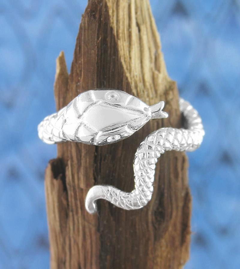 Slithering Snake With Forked Tongue Adjustable Ring | woot & hammy thoughtful jewelry