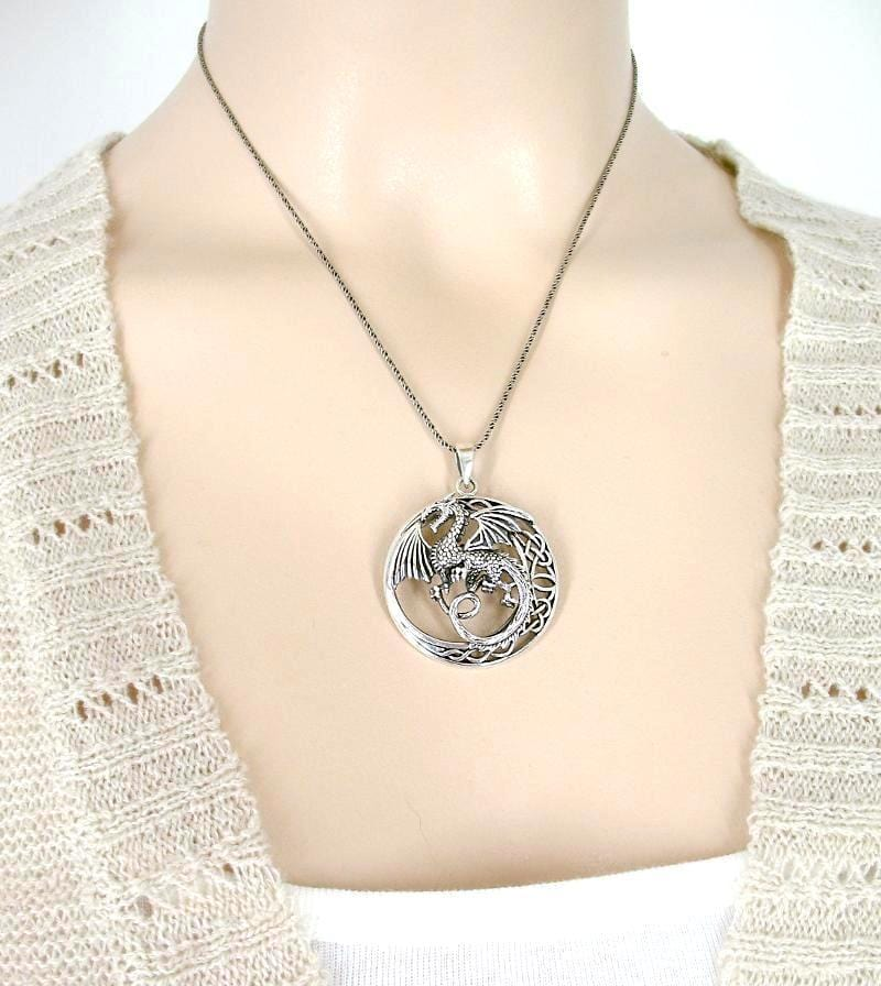 Mythical Flying Dragon Necklace With Celtic Moon - woot & hammy