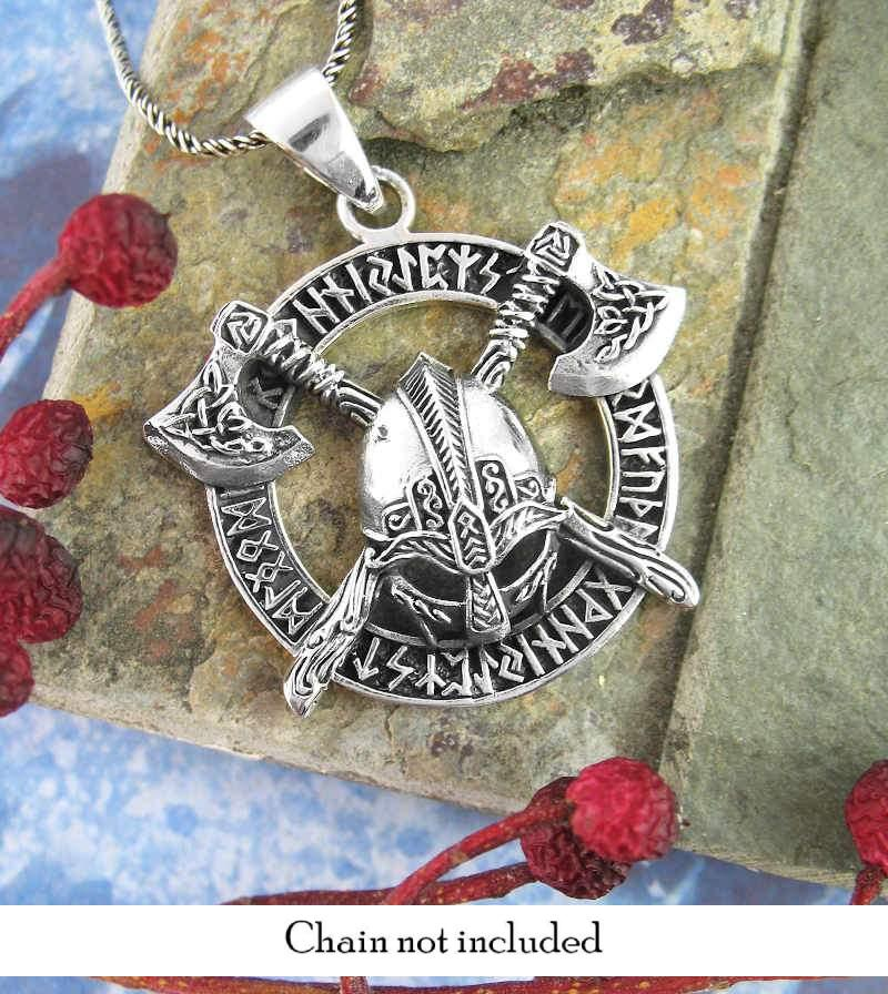 Gjermundbu Viking Helmet Battle Axes Runes Necklace Norman Barbarian Warrior Sterling Silver
