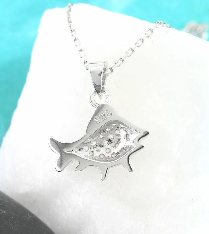 Happy Fish Necklace with Crystal Scales - woot & hammy