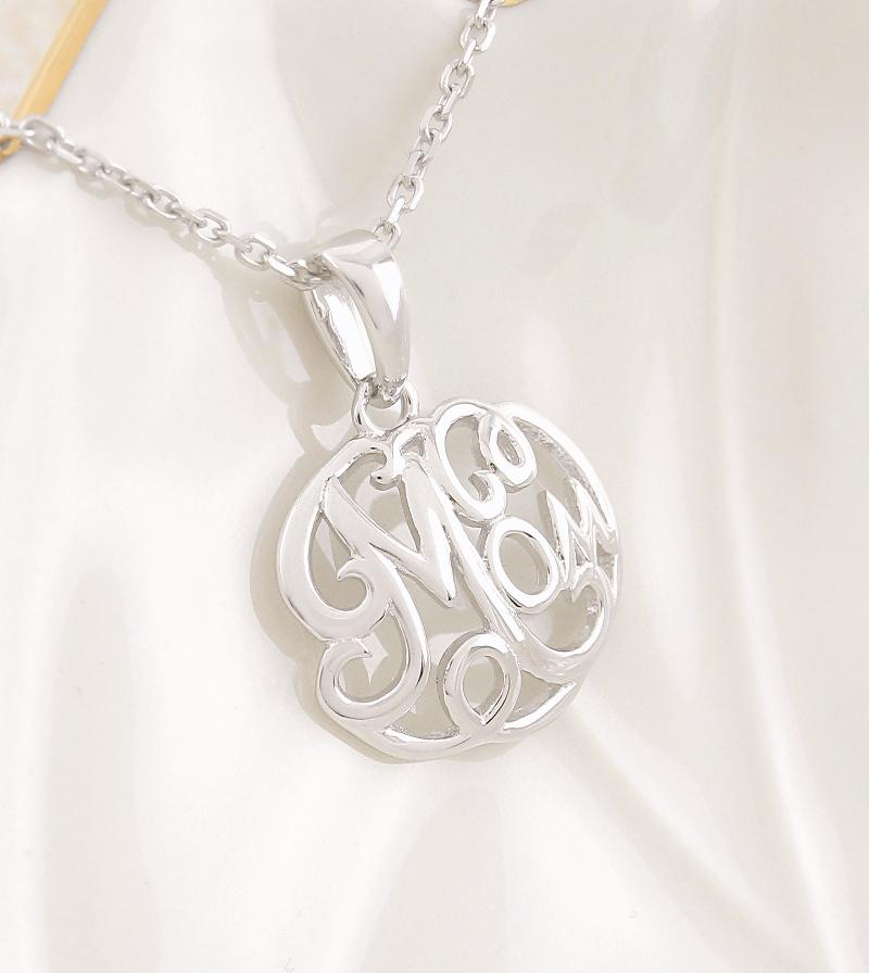 Fancy Oval Mom Word Necklace Sterling Silver Mother's Day Jewelry