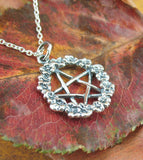 Wreath of Flowers Pentacle Pendant Necklace Sterling Silver