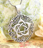Hidden Flower Pentagram Pendant With Wreath