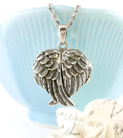 Ornate Folded Angel Wings Heart Locket Necklace - woot & hammy