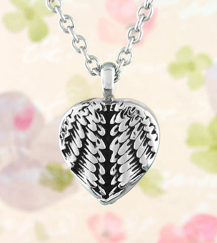 Heart-Shaped Angel Wing Memorial Urn Necklace - woot & hammy