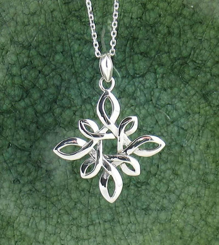 Four Pointed Quaternary Celtic Knot Necklace in Sterling Silver