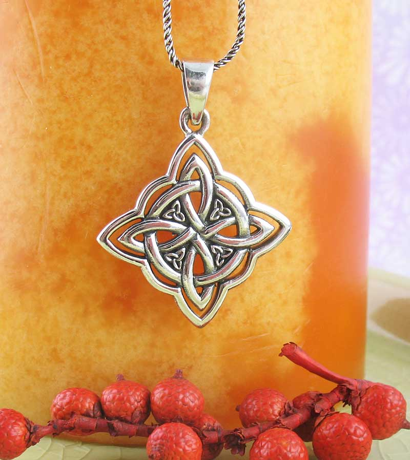 Witch's Knot Four Pointed Celtic Knot Interlaced with a Circle Necklace Sterling Silver Pendant