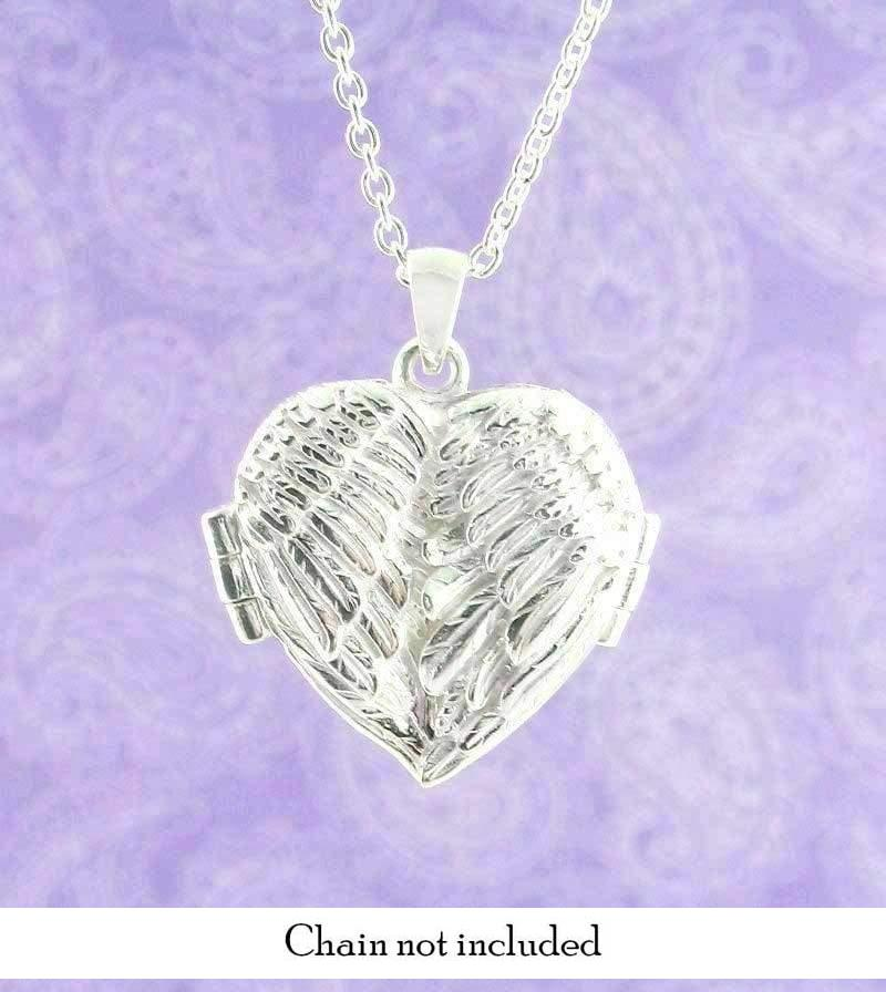Bright Angel Wings Heart-Shaped Locket Necklace - woot & hammy