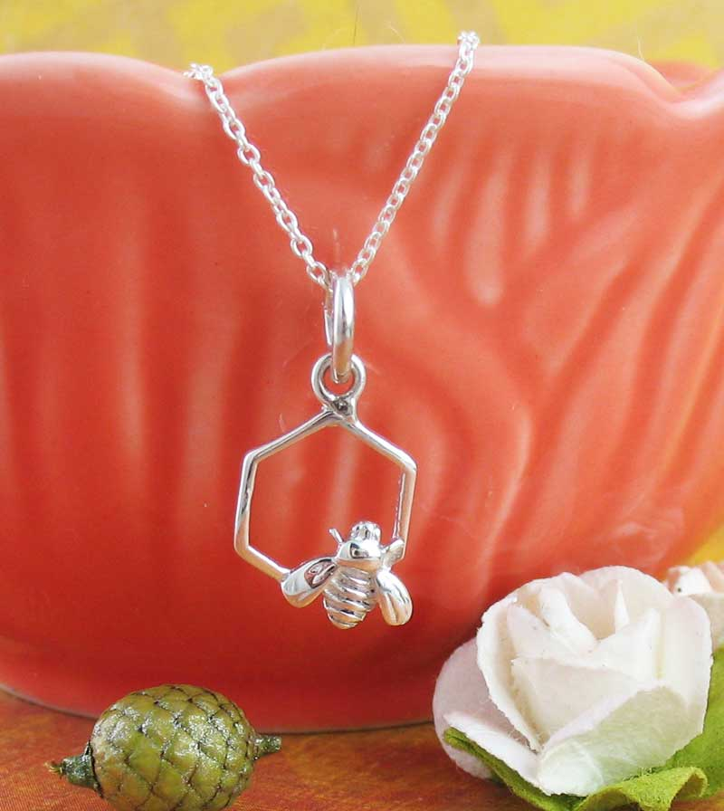 Honeycomb Cell with Tiny Bee Necklace Sterling Silver Tiny Dainty Charm Pendant