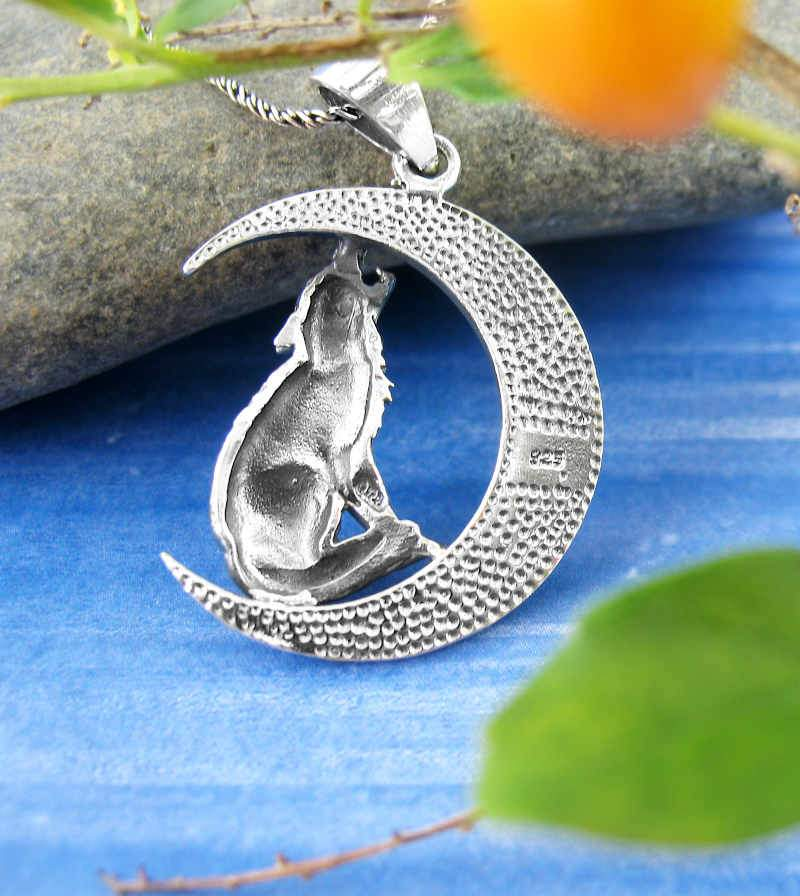 Wolf Howling at the Celtic Crescent Moon Necklace Sterling Silver