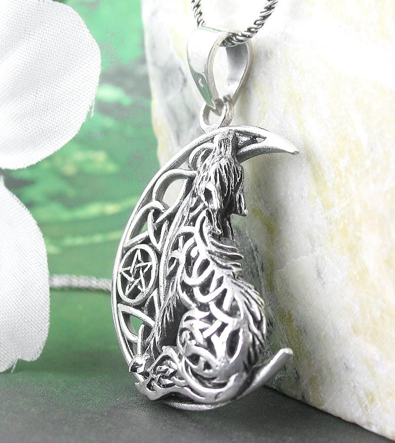 Celtic Wolf Howling at the Crescent Moon Necklace w/ Pentacle Sterling Silver