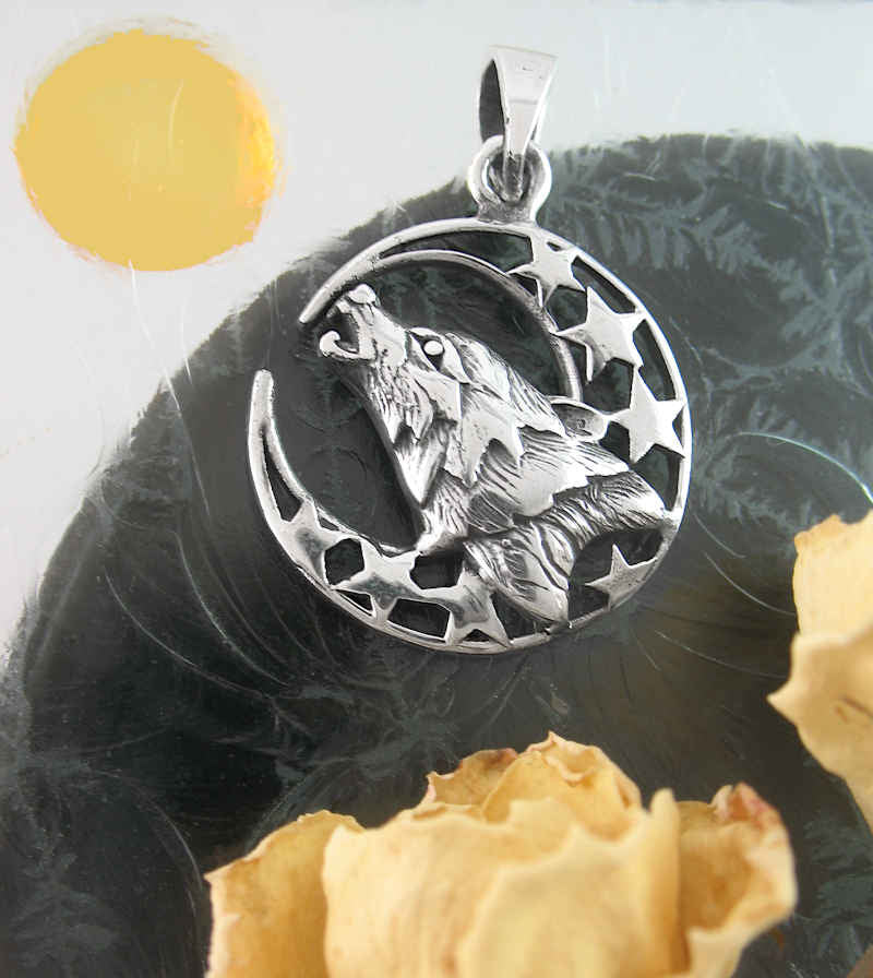 Howling Wolf's Head With Crescent Moon & Stars Pendant | woot & hammy