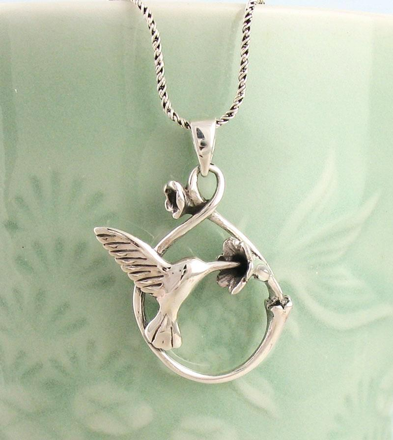 Hummingbird Drinking From a Flower Necklace Sterling Silver