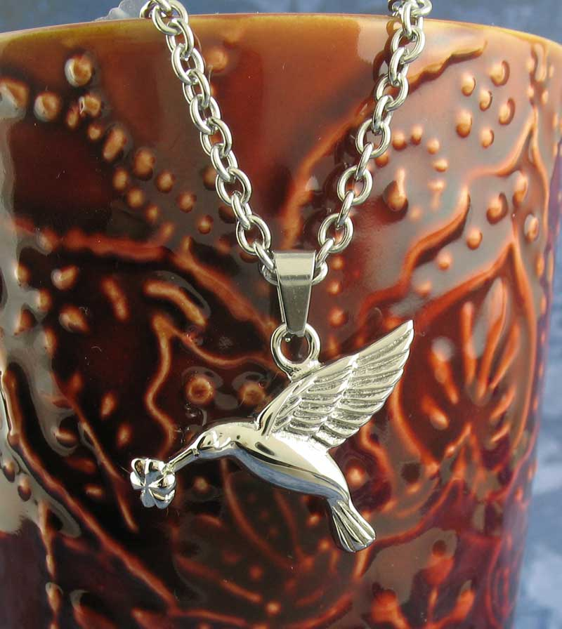 Hummingbird With Flower Urn Necklace – Stainless Steel