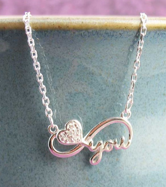 Love You Infinity Necklace with Heart & Crystals
