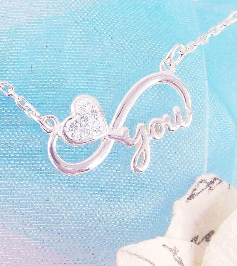 Love You Infinity Necklace with Heart & Crystals Sterling Silver Cubic Zirconia