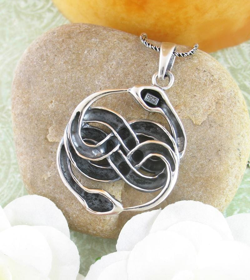 Double Ouroboros Infinity Snake Necklace Sterling Silver