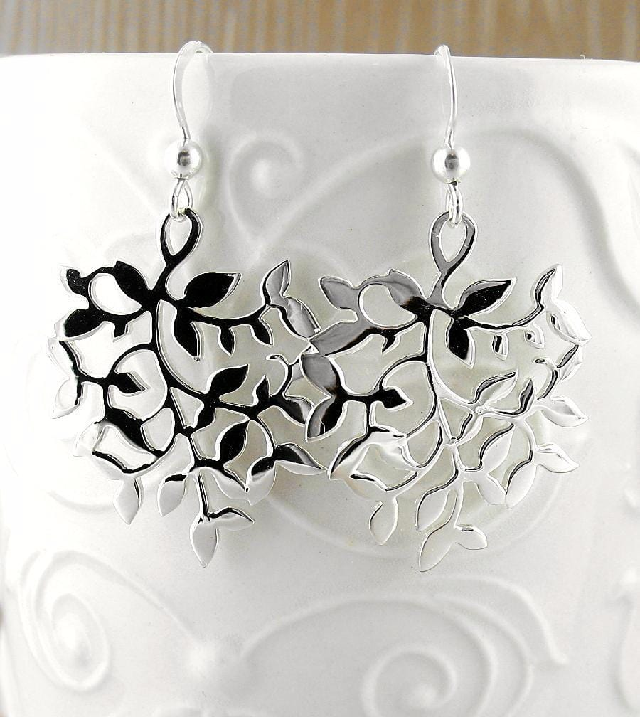 Large Leafy Curling Vine Earrings - woot & hammy