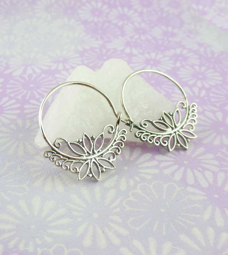 Lotus Flower Filigree Hoop Earrings Sterling Silver