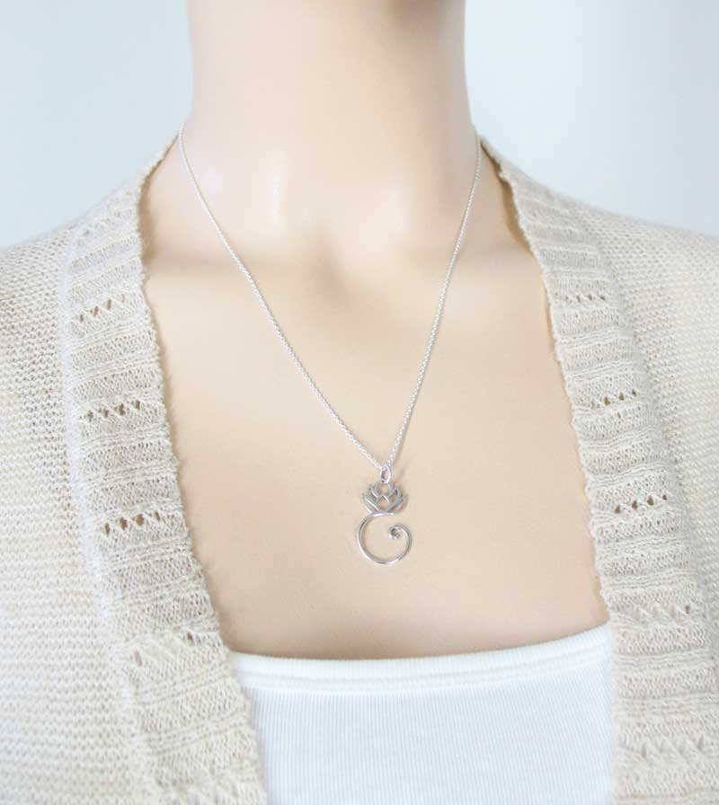 Lotus with Coiled Stem Necklace Outline Pendant Sterling Silver