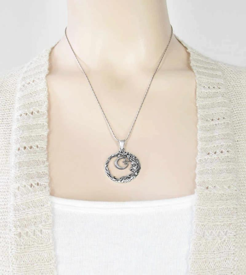 Man In The Moon With Crescent And Pentagram Necklace | woot & hammy thoughtful jewelry