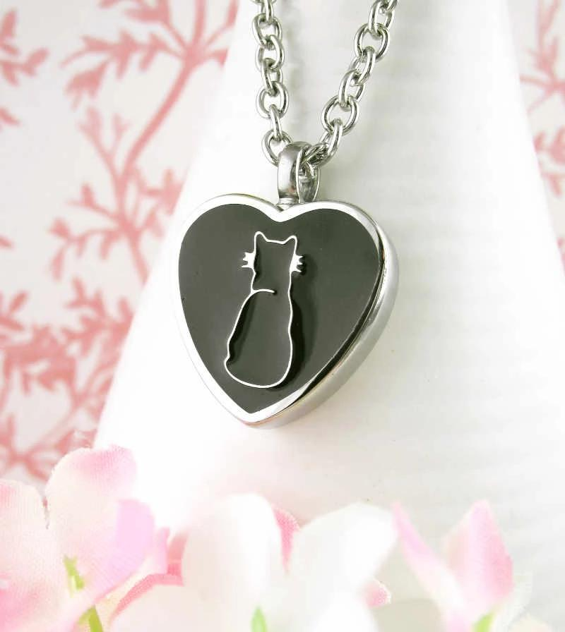 Black Kitty Cat Silhouette Heart Urn Necklace – Stainless Steel