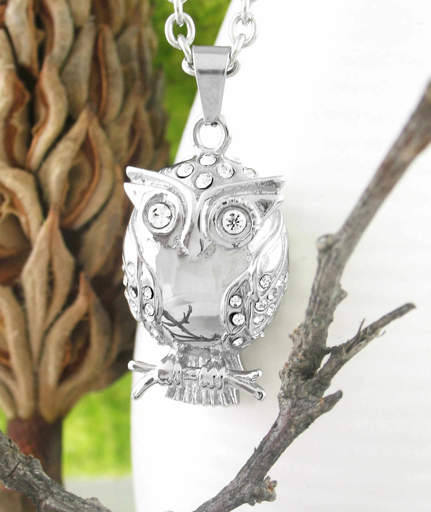 Owl Urn Necklace With Crystals – Stainless Steel | woot & hammy thoughtful jewelry