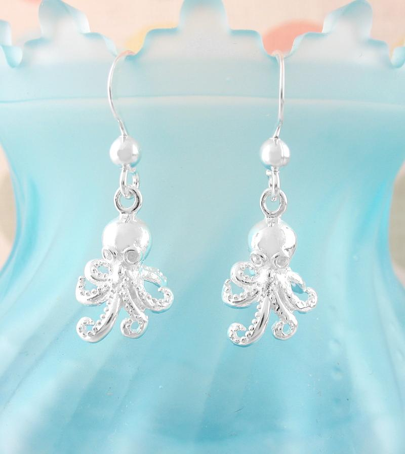 Miniature Swishing Octopus Hook Earrings | woot & hammy thoughtful jewelry
