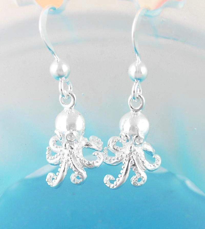 Miniature Octopus Hook Dangle Earrings | woot & hammy thoughtful jewelry