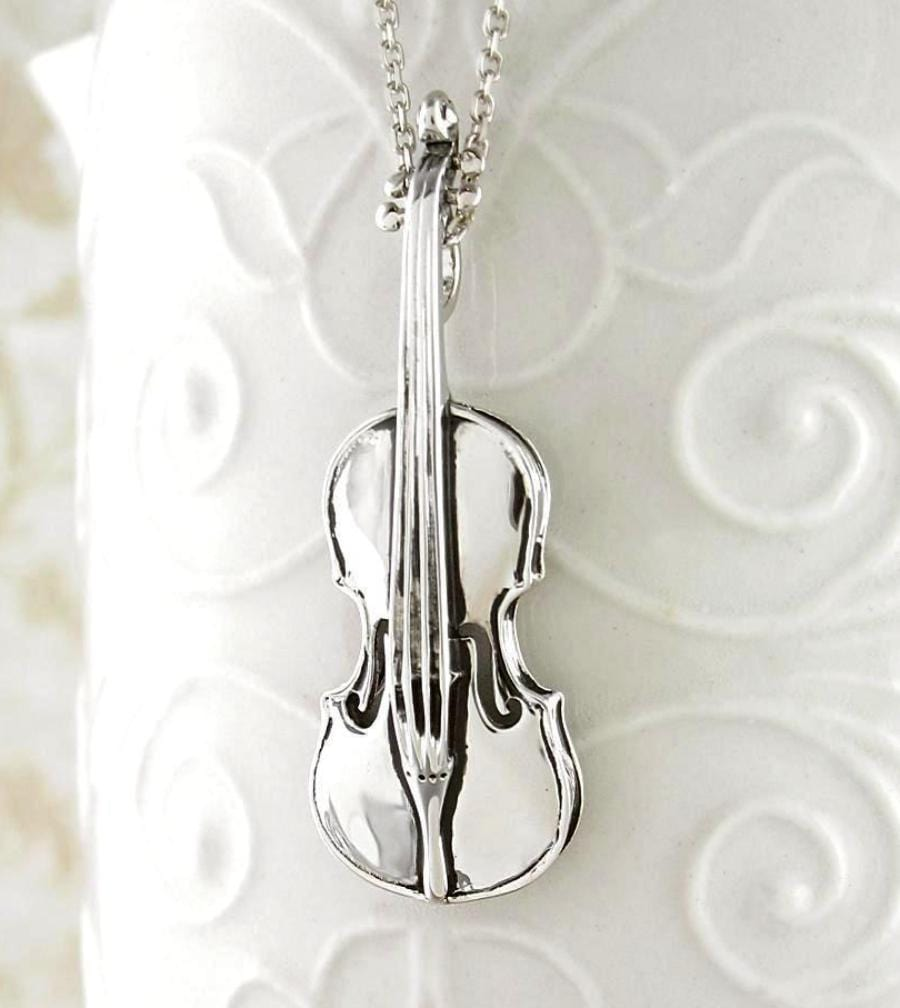 Elegant and Realistic Miniature Violin Necklace - woot & hammy
