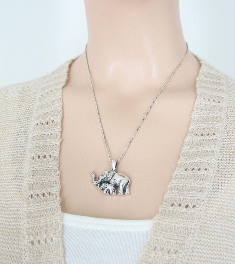 Realistic Mom & Baby Elephant Necklace Sterling Silver