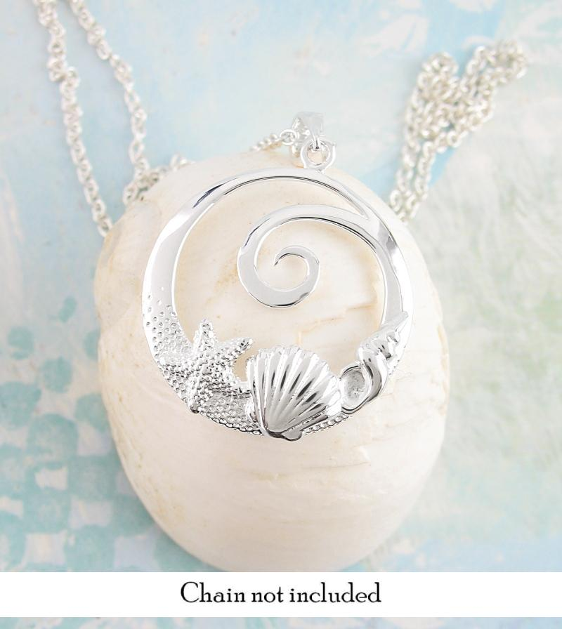Spiral Wave Necklace With Shells and Starfish | woot & hammy thoughtful jewelry