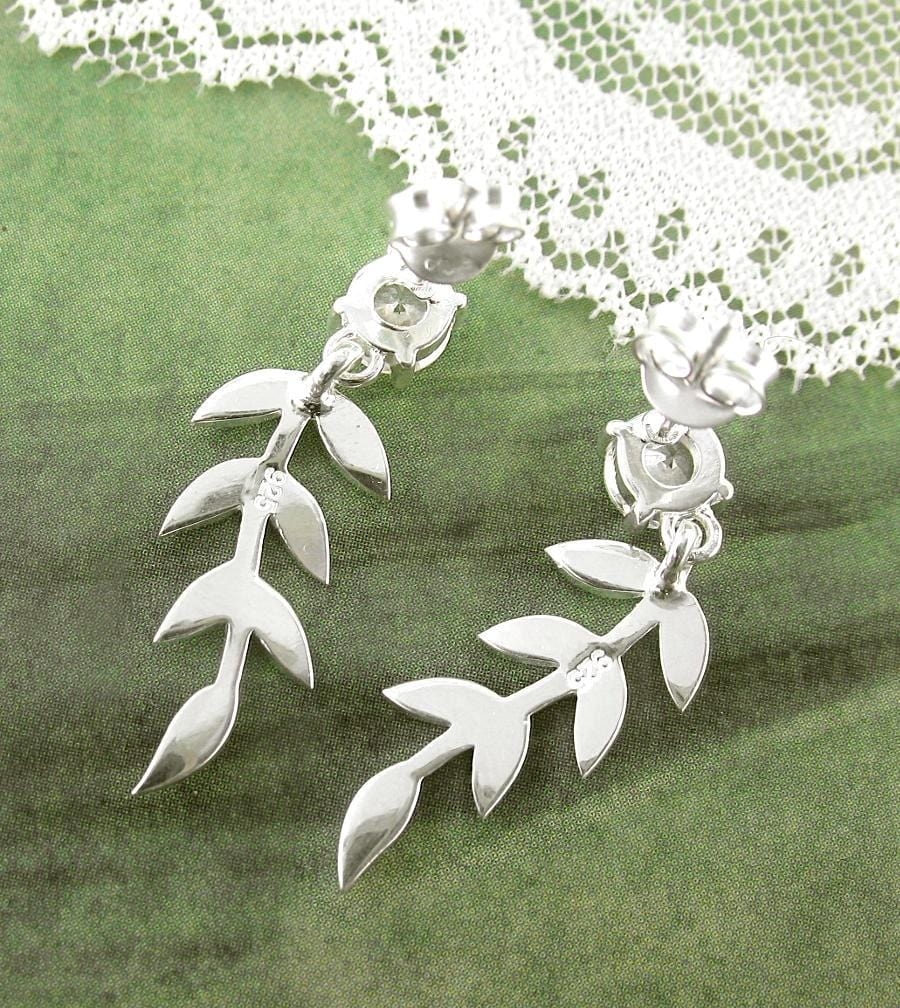 Olive Branch Earrings With Crystals - woot & hammy