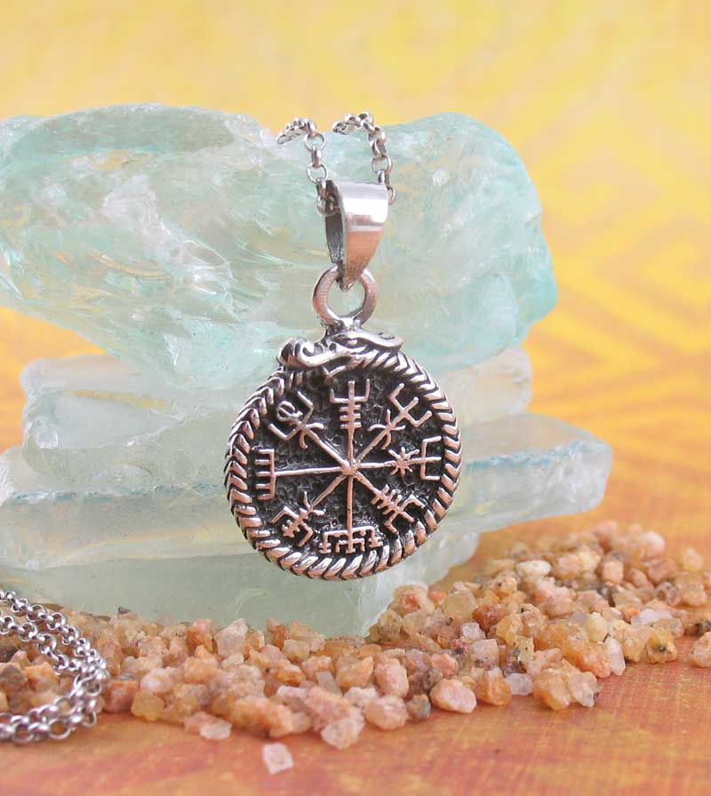Intricate Vegvisir with Jormungandr Ouroboros Necklace Viking Norse Amulet Charm Sterling Silver