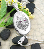 Wolf's Head Oval Locket Pendant With Crystal Eyes Sterling Silver