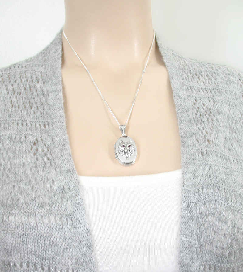 Engravable Locket Pendant of Wolf's Head With CZ Eyes | woot & hammy