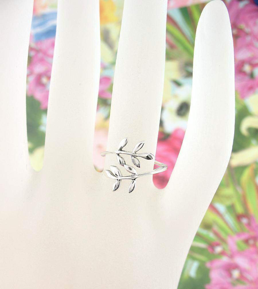 Olive Leaf Branch Adjustable Wrap Ring - woot & hammy