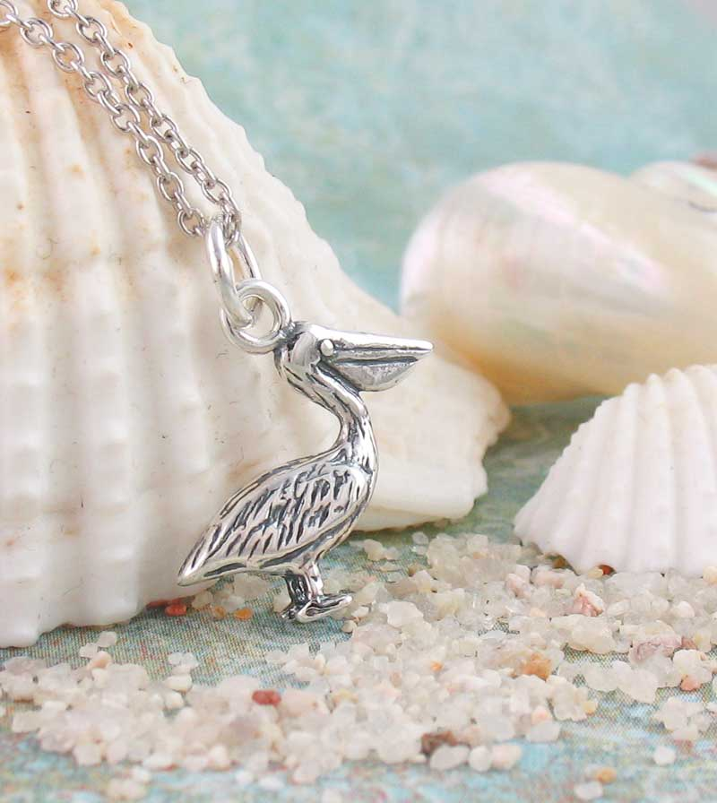 Tiny Pelican Necklace Ocean Bird Pendant Sterling Silver
