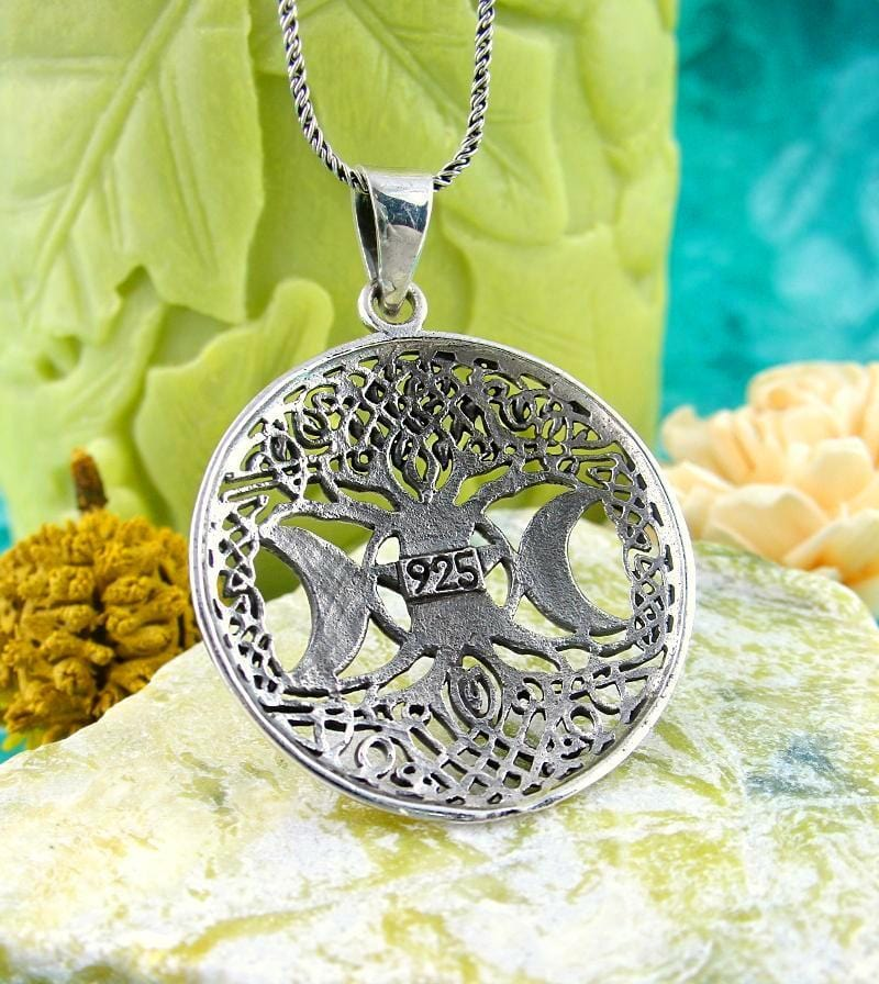 Moon Goddess Tree of Life Pentacle Necklace Mother Maiden Crone Wiccan Jewelry