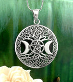 Triple Moon Goddess Tree of Life Pentacle Pendant