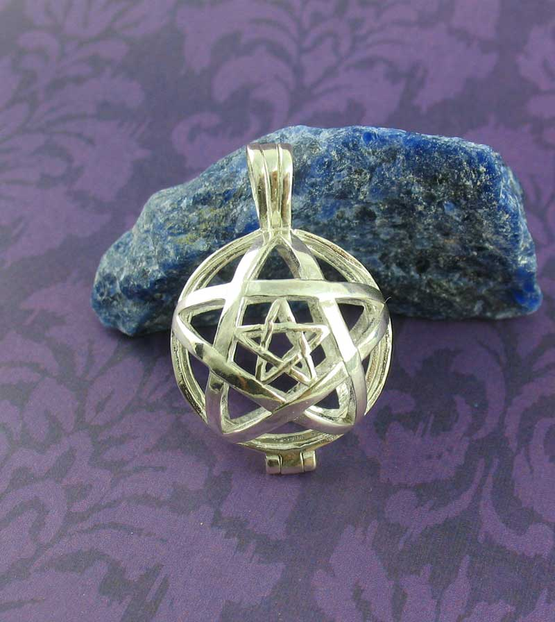 Pentagram-Within-A-Pentagram See-Through Locket Pendant