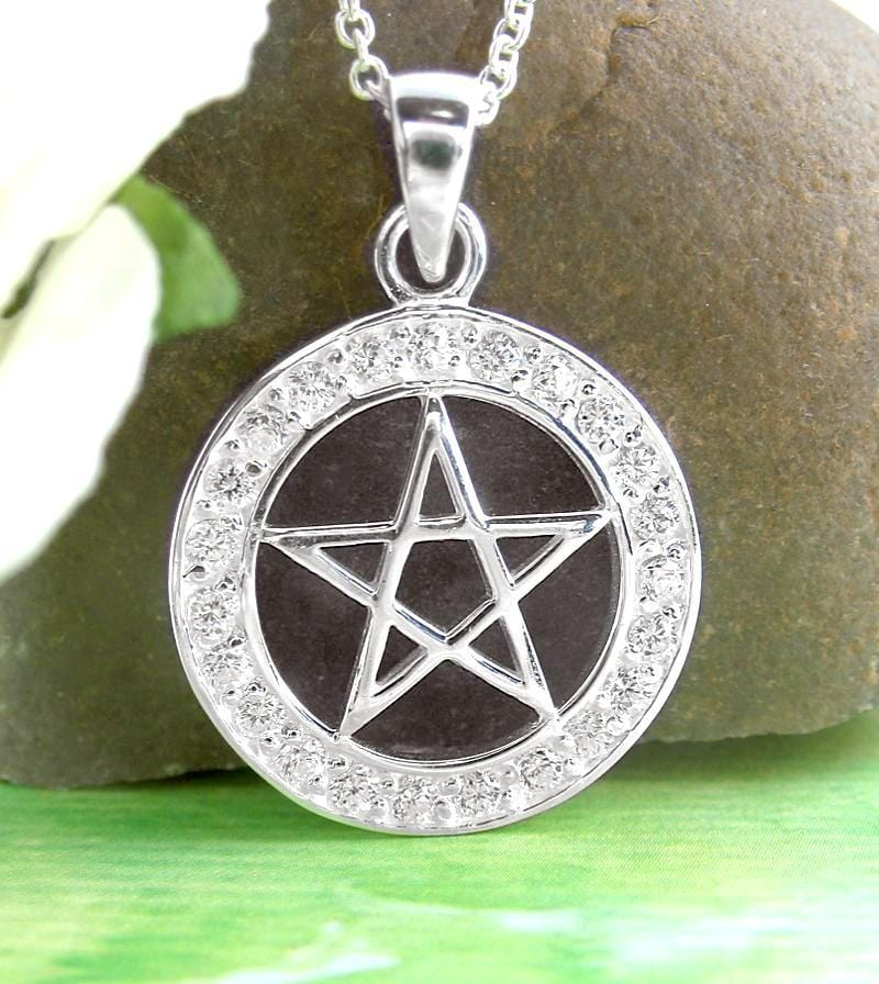 Bright Pentacle Necklace with Crystals - woot & hammy